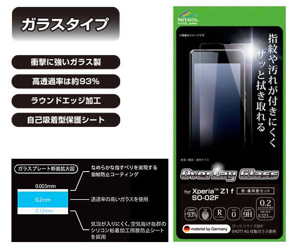 OverLay Glass for Xperia (TM) Z1 f SO-02F 『表・裏両面セット』(0.2mm)