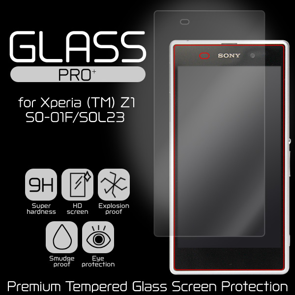 GLASS PRO+ Premium Tempered Glass Screen Protection for Xperia (TM) Z1 SO-01F/SOL23