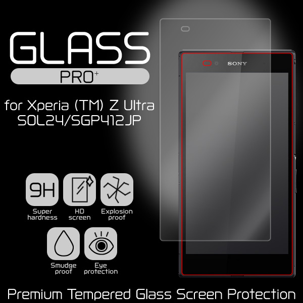GLASS PRO+ Premium Tempered Glass Screen Protection for Xperia (TM) Z Ultra SOL24/SGP412JP