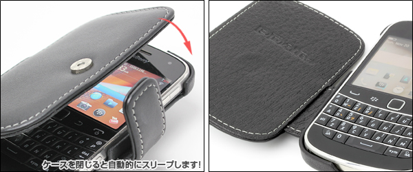 PDAIR レザーケース for BlackBerry Bold 9900 横開きタイプ