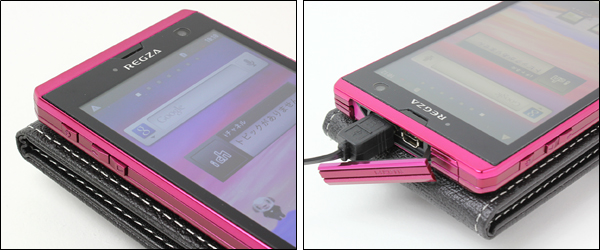 PDAIR レザーケース for REGZA Phone T-01D 縦開きタイプ