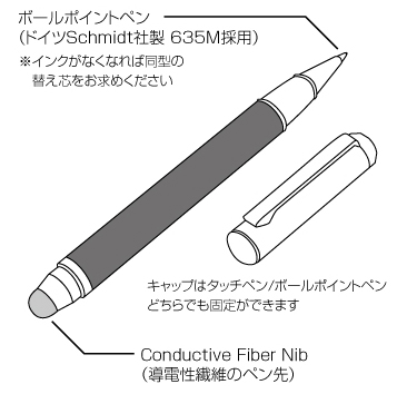 Carbon Touch Pen with Ballpoint Pen