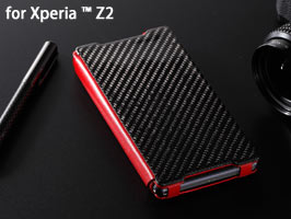 GENUINE LEATHER & CARBON FIBER CASE for Xperia (TM) Z2 SO-03F