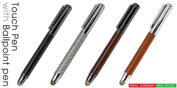 Carbon Touch Pen/Wooden Touch Pen with Ballpoint Pen