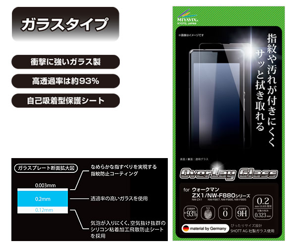 OverLay Glass for ウォークマン ZX2/ZX1/NW-F880シリーズ