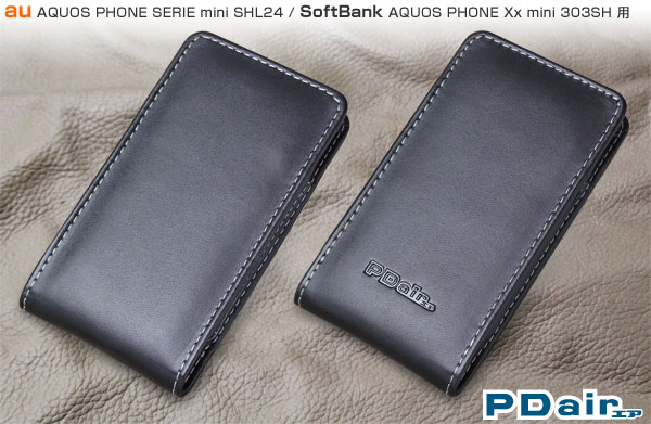 PDAIR レザーケース for AQUOS PHONE SERIE mini SHL24/AQUOS PHONE Xx mini 303SH バーティカルポーチタイプ