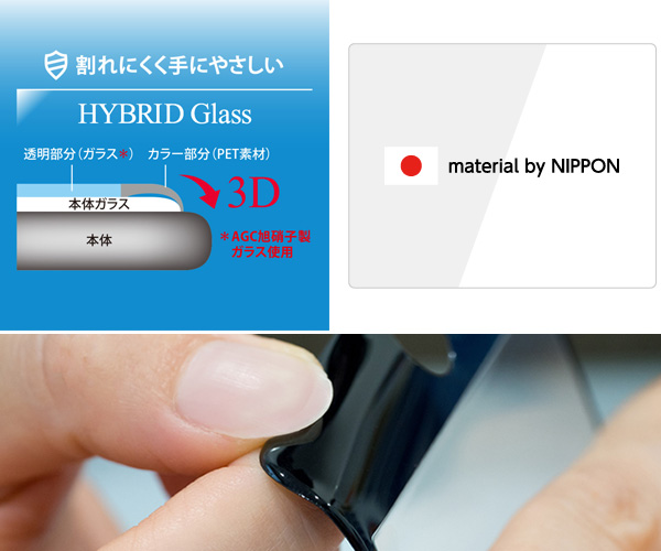 Hybrid Glass Screen Protector 3D 透明/AGCソーダライム カーボン for iPhone 7