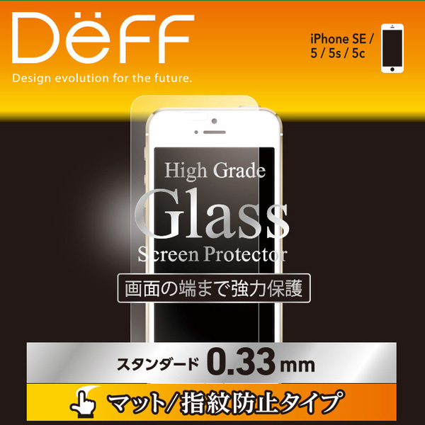 High Grade Glass Screen Protector マット指紋防止 0.33mm for iPhone SE/5s/5c/5