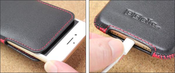 bddbd0e912 PDAIR ラグジュアリーレザーケース for iPhone 7 ベルトクリップ付バーティカルポーチタイプ