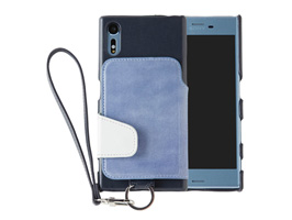RAKUNI Leather Case with Strap for Xperia XZs SO-03J / SOV35 / Xperia XZ SO-01J / SOV34(チョークブルー)