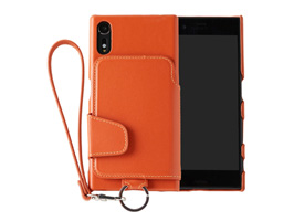 RAKUNI Leather Case with Strap for Xperia XZs SO-03J / SOV35 / Xperia XZ SO-01J / SOV34(ブリックオレンジ)