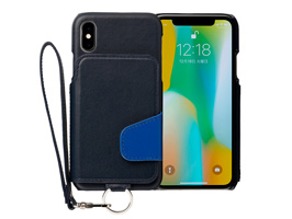 RAKUNI Real Leather Case for iPhone X(ウルシュラブルー(濃紺×青))