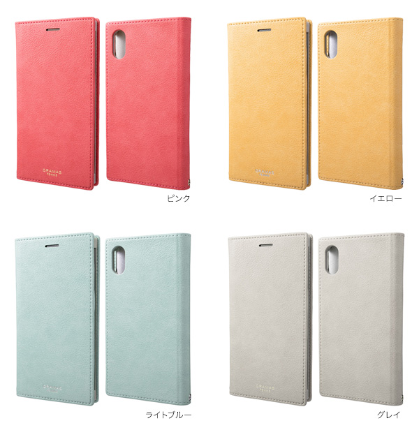 カラー GRAMAS FEMME Colo PU Leather Book Case for iPhone XR