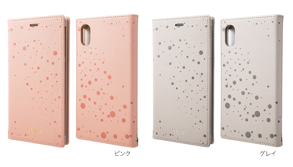 カラー GRAMAS FEMME Twinkle PU Leather Book Case for iPhone XR