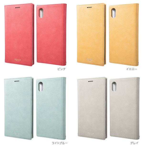 カラー GRAMAS FEMME Colo PU Leather Book Case for iPhone XS MAX