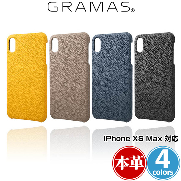 GRAMAS Shrunken-Calf Leather Shell Case for iPhone XS MAX