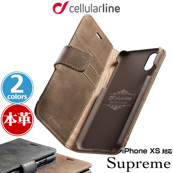 cellularline Supreme 本革手帳型ケース for iPhone XS