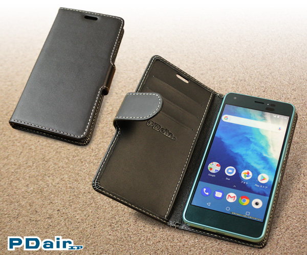 PDAIR レザーケース for おてがるスマホ01 / DIGNO A / Qua phone QZ KYV44 / Android One S4 横開きタイプ